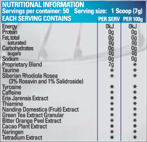 BPM liporush ingredients nutritional information