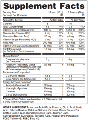 Optimum-Nutrition-Gold-Standard-Pre-Workout-ingredients and supplement facts