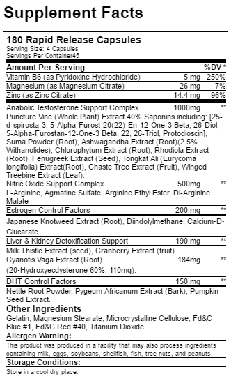 Super Test (capsules) Ingredients label and supplement facts