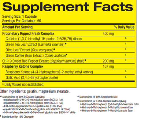 RIPPED FREAK FAT BURNER-ingredients