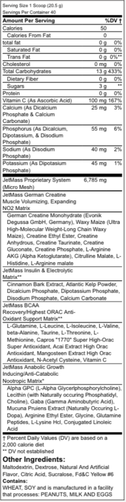 jetmass-creatine-ingredients