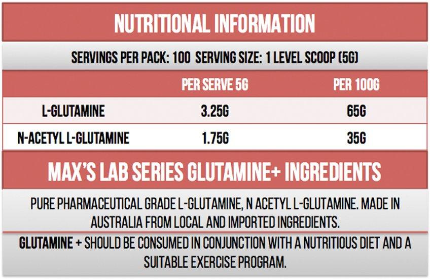 Max's Glutamine + Ingredients