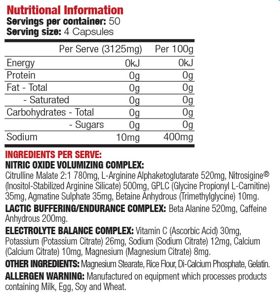 Max's Vaso-D Ingredients