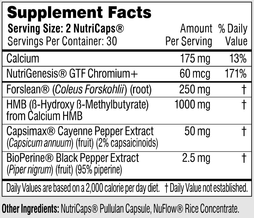Supplement Facts in Performance Lab Sport Burn