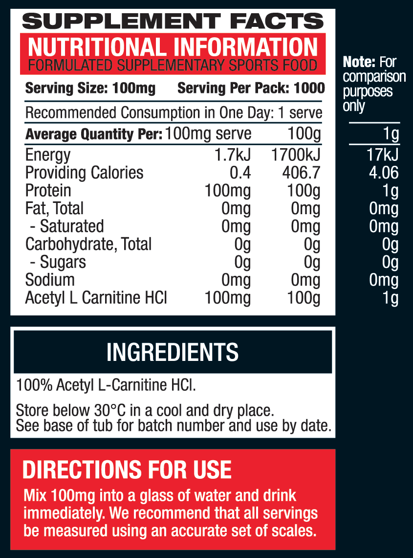 Body Science Acetyl-L-Carnitine Ingredients