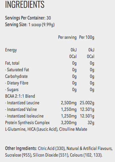 Musclewerks Amino Kik Ingredients