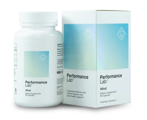 Bottle of recommended nootropic, Performance Lab Mind