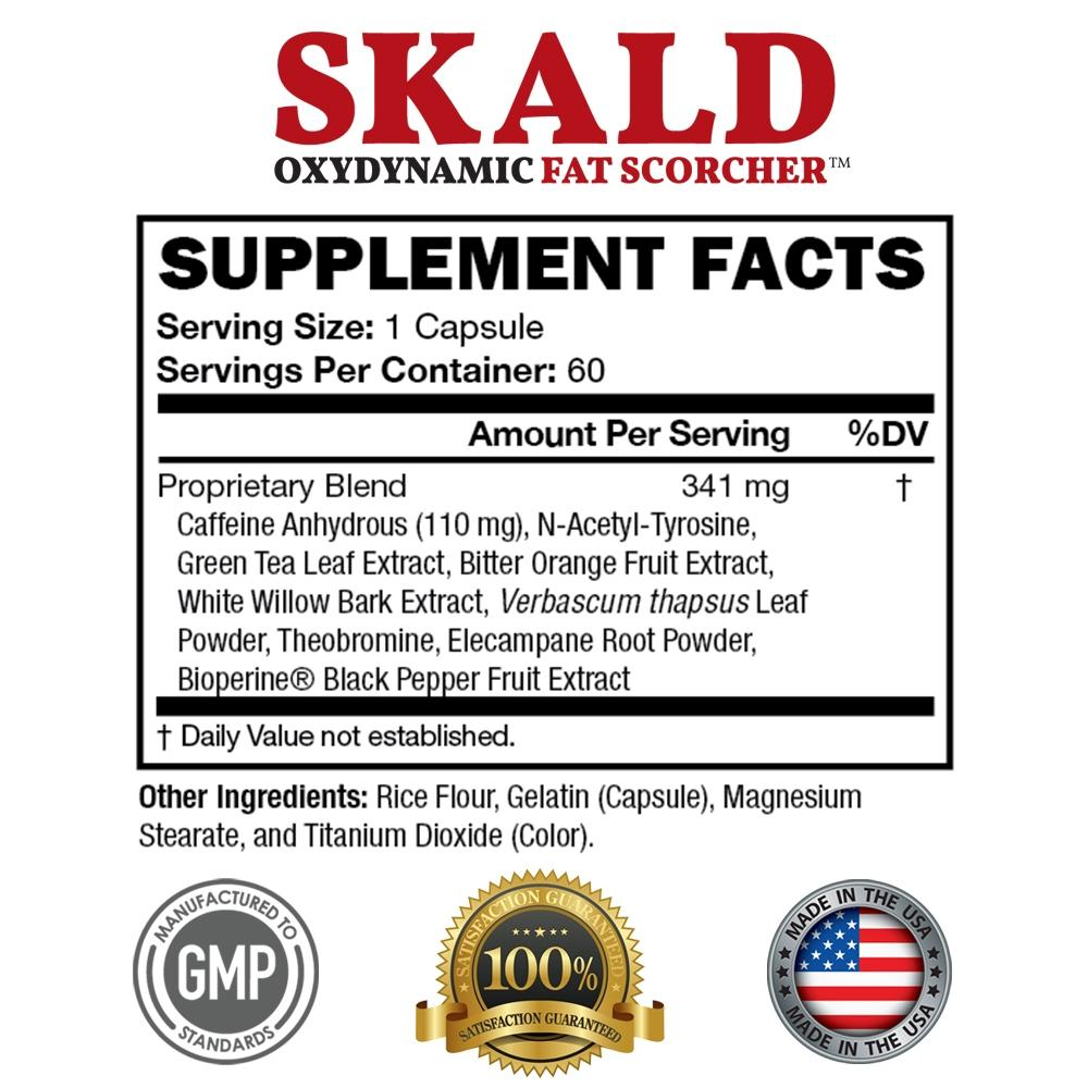 Skald OxyDynamic Fat Scorcher supplement facts